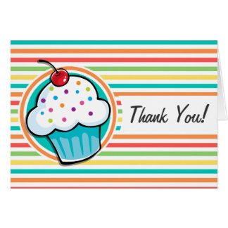Cupcake Bright Rainbow Stripes Greeting Card