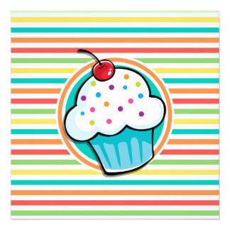 Cupcake Bright Rainbow Stripes Personalized Invitations