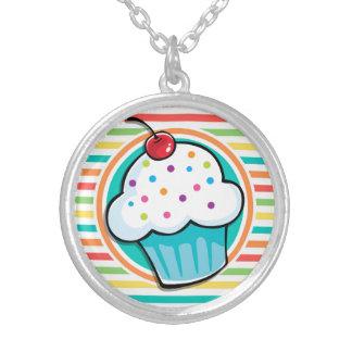 Cupcake Bright Rainbow Stripes Custom Necklace