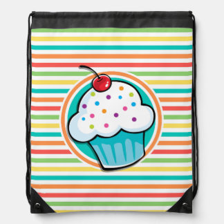 Cupcake Bright Rainbow Stripes Backpacks