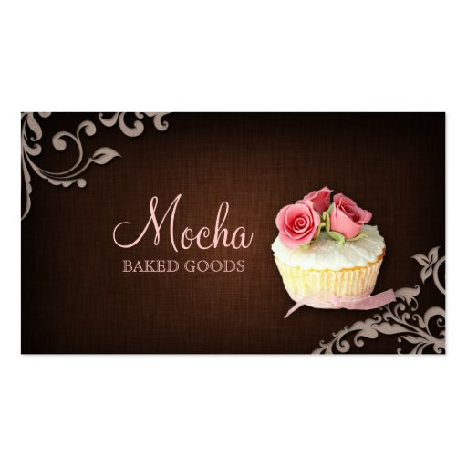 Cupcake Business Card Linen Brown Pink Roses