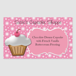 Cupcake Business or Box Label, Pink and White Stickers