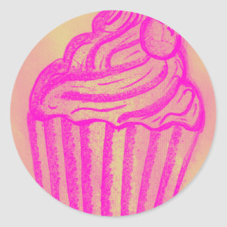 cupcake by imagining victoria classic round sticker
