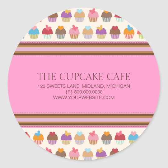 Cupcake cafe bakery business stickers