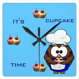 cupcake chef owl square wall clock