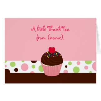 Cupcake Cherry Birthday Thank You Note Cards