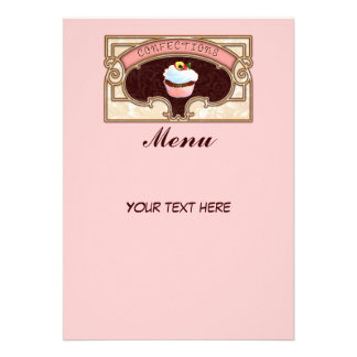 Cupcake Confections Menu Sign Vintage Style Invites