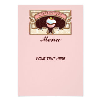 "Cupcake Confections Menu Sign Vintage Style 5"" X 7"" Invitation Card"