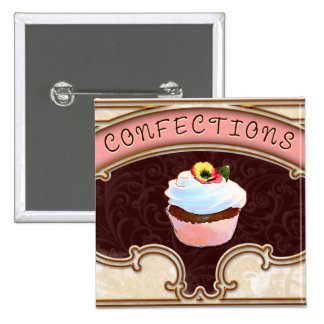 Cupcake Confections Vintage Style 15 Cm Square Badge