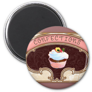 Cupcake Confections Vintage Style 6 Cm Round Magnet