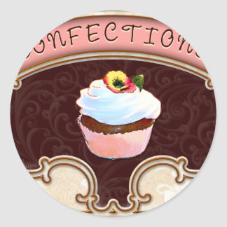 Cupcake Confections Vintage Style Round Sticker