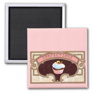 Cupcake Confections Vintage Style Square Magnet