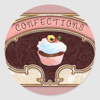 Cupcake Confections Vintage Style Classic Round Sticker
