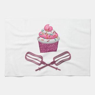 Cupcake & Crossed Beaters In Pink Tea Towel