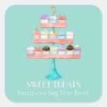 Cupcake Dessert Baking Bakery Business Package Square Sticker