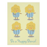 Cupcake Doodle: Kawaii Cupcake dancing happily Posters