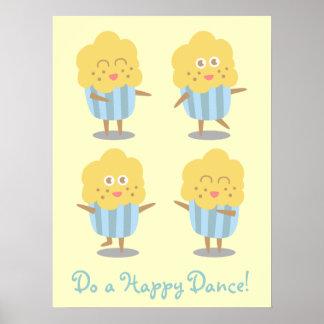 Cupcake Doodle Kawaii Cupcake dancing happily Posters