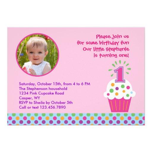 Cupcake First Birthday Party Photo Invitation