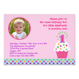 Cupcake First Birthday Party Photo Invitation
