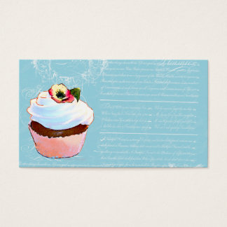 Cupcake & French writing Business Cards