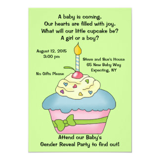 Cupcake Gender Reveal Invitation