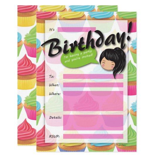 Cupcake Girl Birthday Invitation - Black Hair