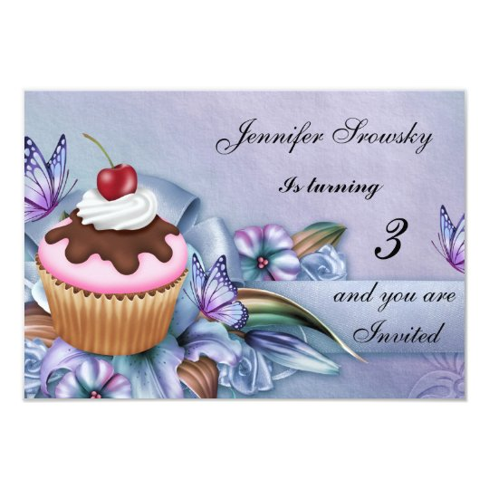Cupcake Girls Birthday Party Card