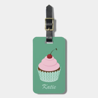 Cupcake Girly Mint Chocolate Pink Cherry Frosting Luggage Tag