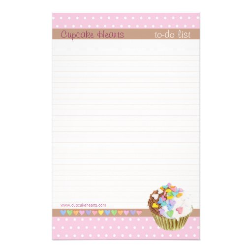 Cupcake Hearts lined To-Do List Personalized Stationery