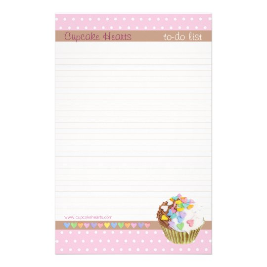 Cupcake Hearts lined To-Do List Stationery