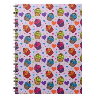 Cupcake Hearts Pattern Notebook