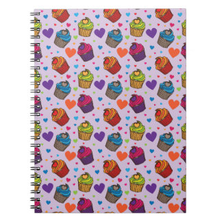 Cupcake Hearts Pattern Spiral Notebook