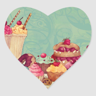 Cupcake Ice Cream Patisserie Gift Tags Heart Sticker