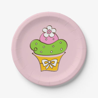 Cupcake illustration. paper plate