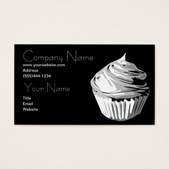 Cupcake in greys business card template