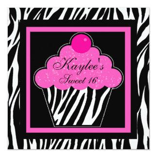 Cupcake Invitation - Hot Pink Zebra Sweet 16