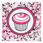 Cupcake Invitation - Pink & Black Paint Splatter