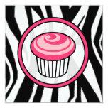Cupcake Invitation - Zebra Print / Pink & Black