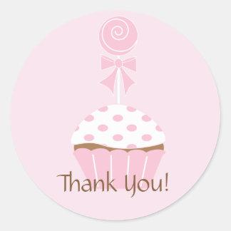 Cupcake Lollipop Happy Birthday Thank You Sticker