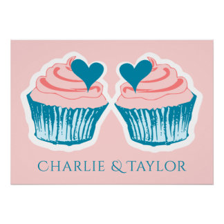 Cupcake Love custom names couple's poster