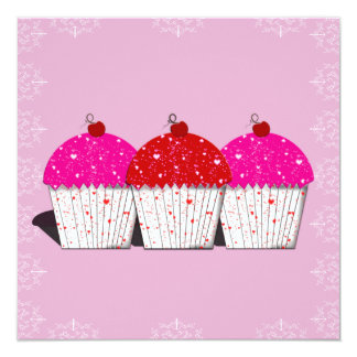 Cupcake Love on Pink Notecards Announcement