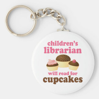 Cupcake Lover Childrens Librarian Gift Basic Round Button Key Ring