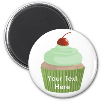 Cupcake-Mint and Green 6 Cm Round Magnet