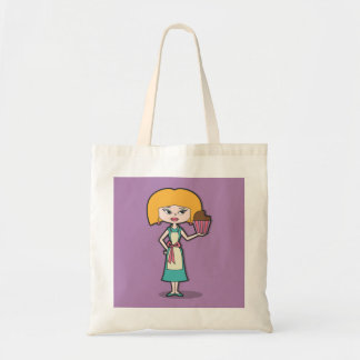 Cupcake Mom with purple background Tote Bag
