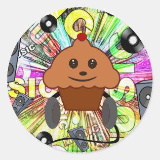 Cupcake & Music Round Sticker