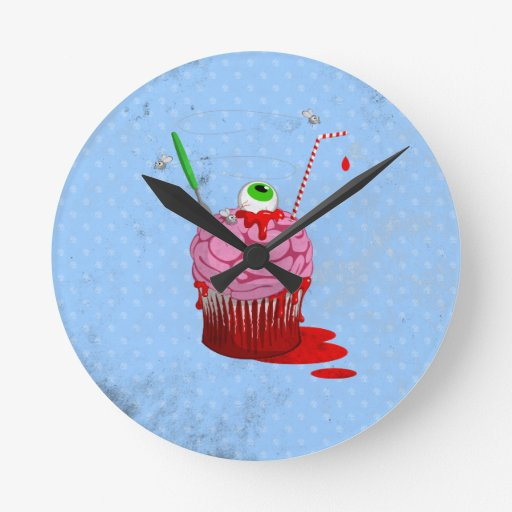 Cupcake Of The Dead Round Wall Clocks
