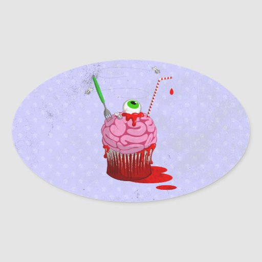 Cupcake Of The Dead Oval Sticker
