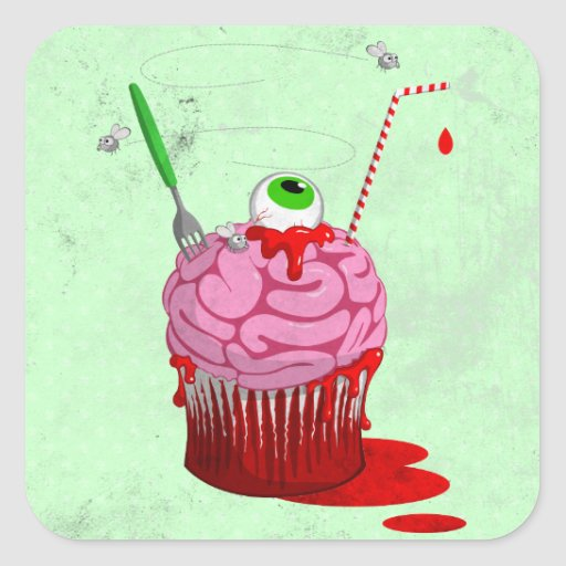 Cupcake Of The Dead Square Stickers