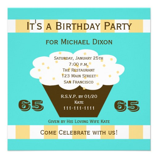 Cupcake on Aqua 65th Birthday Party Invitation