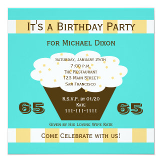 Cupcake on Aqua 65th Birthday Party Invitation